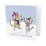 Pack of 10 Battersea Dogs & Cats Home Christmas Cards - Dancing Dog & Cat